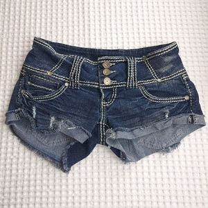 Almost Famous size 3 distressed embellished booty